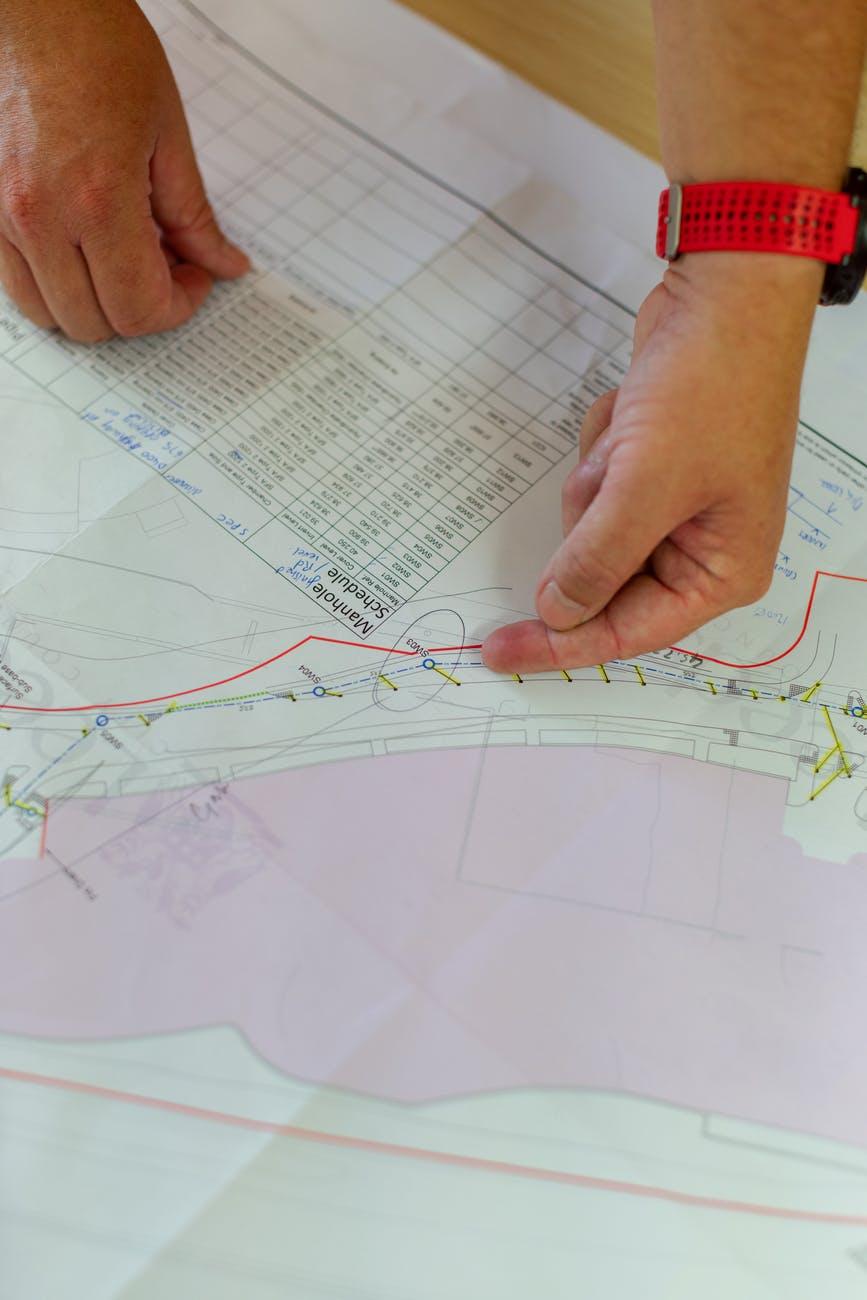 civil engineer looking at blueprint